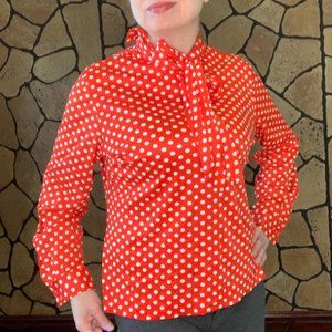 Bold bright red & white polkadot long sleeve shirt